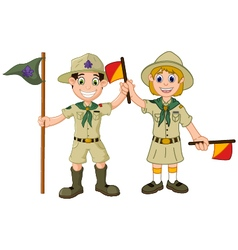 Funny boy and girl scout cartoon vector