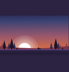 Game background scenery at sunset vector