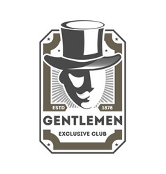 Gentleman exclusive club vintage label vector