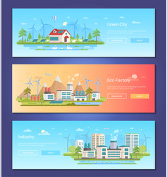 Green city - set of modern flat design style vector