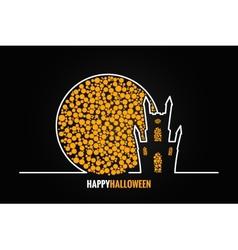halloween house full moon design background vector image