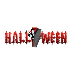 Halloween typography Dracula in his coffin Logo vector image vector image