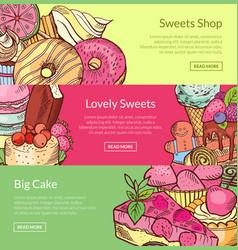 hand drawn sweets horizontal banner vector image