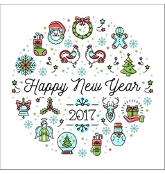 Happy new year 2017 template minimalistic vector