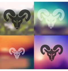 Head of the ram icon on blurred background vector
