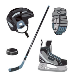 hockey icons set in flat style ice vector image