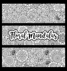 Horizontal flyers with floral mandalas vector