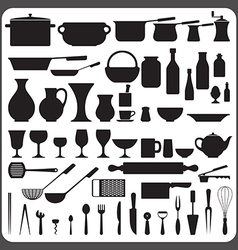 kitchenware silhouettes set vector image vector image