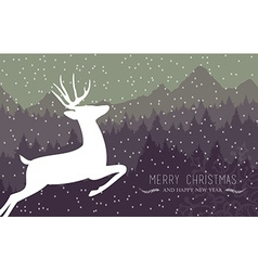 Merry christmas happy new year holiday card deer vector image vector image