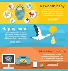 Newborn baby banner horizontal set flat style vector