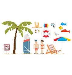Pixel art style beach set vector