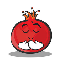 Praying face pomegranate cartoon character style vector