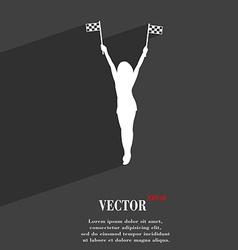 Racing Pin Up Girl with flag symbol Flat modern vector image