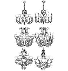 Rich baroque classic chandelier set luxury decor vector