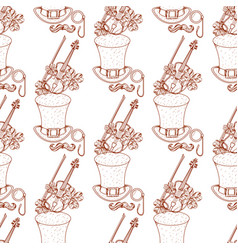 Seamless pattern with a violin and a high hat vector