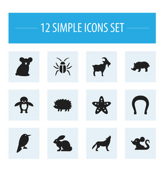 set of 12 editable zoology icons includes symbols vector image vector image