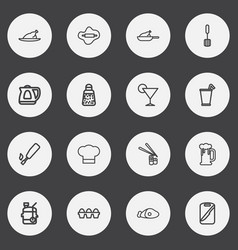 Set of 16 editable cook outline icons includes vector