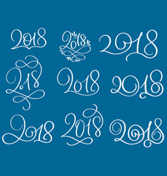 set of 2018 on blue background hand drawn vector image vector image