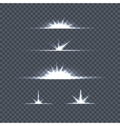 Set of bright lights on transparency glow flash vector