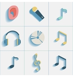 Set of musiacl social media icons vector image