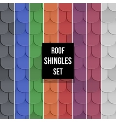 Set of shingles roof seamless patterns vector