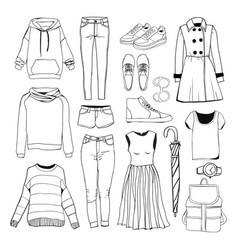 Set of womens sport clothes woman clothing set vector