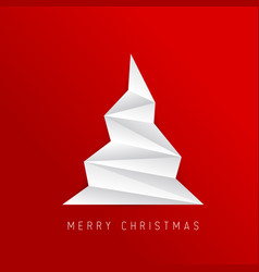 Simple christmas tree made from white folded paper vector