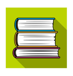 Stack of books icon in flat style isolated on vector