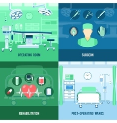 Surgery 4 flat square icons banner vector