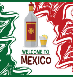 welcome to mexico tequila drink tradition vector image