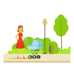 Young mother walking with the baby in the stroller vector
