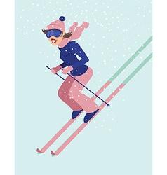 Young woman skiing vector