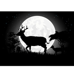 Deer silhouettes with giant moon background vector