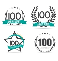 Template logo 100 years anniversary set vector