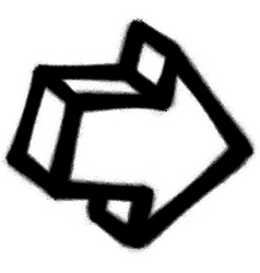 Graffiti arrow icon sprayed in black on white vector