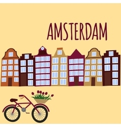 Amsterdam city flat art travel landmark vector