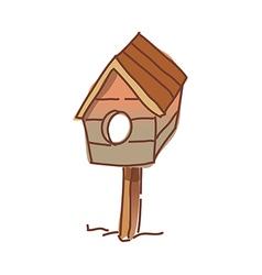 A bird house stand on the garden vector image