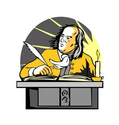 Ben Franklin Writing Retro vector image