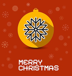 Merry Christmas Retro Card with Orange Ball and vector image
