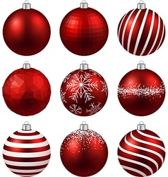 Set of realistic red christmas balls vector