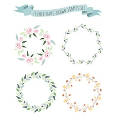 Hand drawn pastel flower and floral frame vector