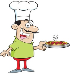 Cartoon chef holding a pizza vector