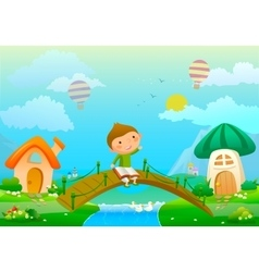 about boy with book and fairy vector image