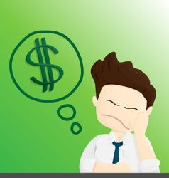 Think money time salary man cartoon lifestyle vector