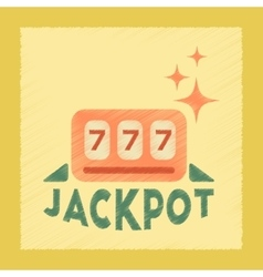 Flat shading style icon jackpot lucky seven vector