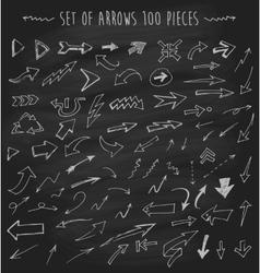 Arrows on chalkboard blackboard hand drawn vector