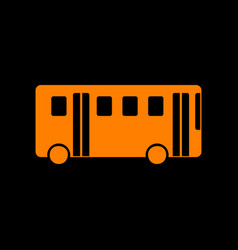 Bus simple sign orange icon on black background vector
