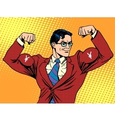 Businessman with muscles currency yen vector image vector image