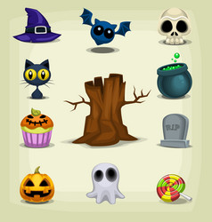 Cartoon halloween stuff item cute collection set vector