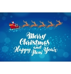 Christmas banner Santa Claus rides in sleigh in vector image vector image